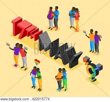 International Day Against Homophobia Isometric Poster With Date 17th May And Loving Couples Vector I