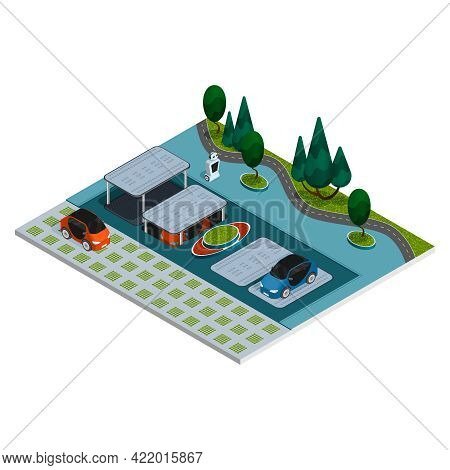Parking Isometric Composition Robotic Smart Parking With Robots And Underground Parking Spaces Vecto