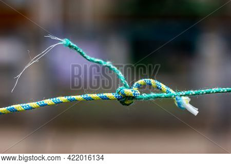 Knot On The Clothesline. Knotted Ropes. A Knot On A Rope.