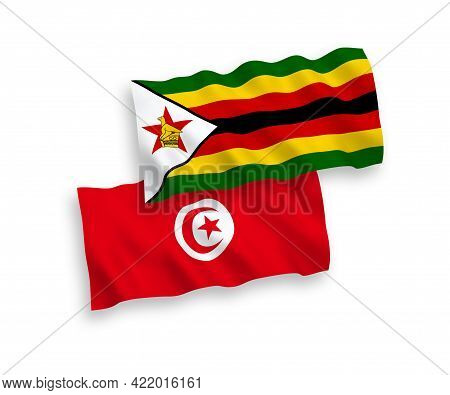 National Fabric Wave Flags Of Republic Of Tunisia And Zimbabwe Isolated On White Background. 1 To 2
