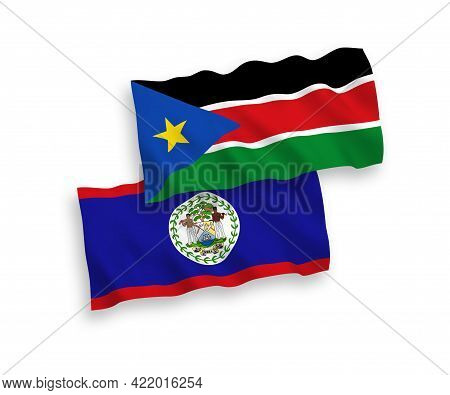 National Fabric Wave Flags Of Belize And Republic Of South Sudan Isolated On White Background. 1 To