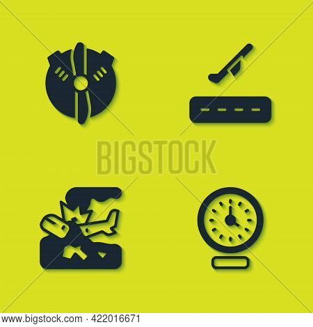 Set Plane Propeller, Clock, Crash And Takeoff Icon. Vector