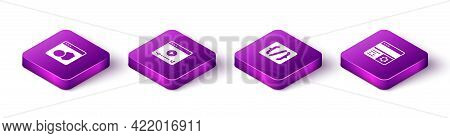 Set Isometric Software, Online Play Video, Programming Language Syntax And Debugging Icon. Vector