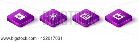 Set Isometric System Bug, Hacker Or Coder, Mysql And Software Icon. Vector