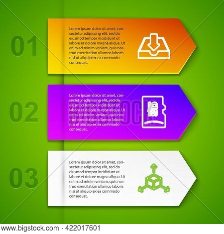 Set Line Download Inbox, Micro Sd Memory Card, Isometric Cube And Gamepad. Business Infographic Temp