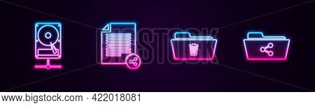 Set Line Hard Disk Drive On Sharing Network, Share File, Delete Folder And . Glowing Neon Icon. Vect