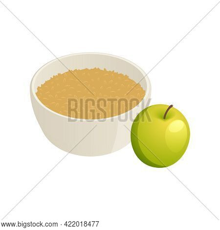 Healthy Breakfast Isometric Icon With Bowl Of Oatmeal And Green Apple Vector Illustration