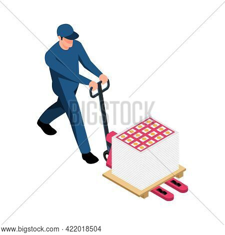 Polygraphy Worker Carrying Printed Papers On Hand Pallet Truck Isometric Vector Illustration