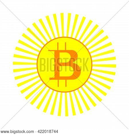Bitcoin And Sun Icon Vector Illustration In Flat Style Isolated On White Background. Mining Bitcoin