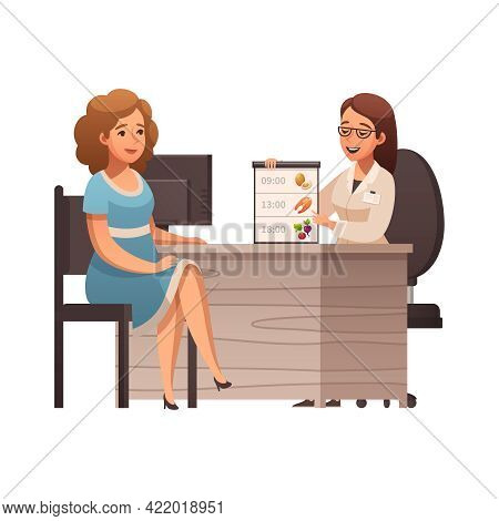 Cartoon Icon With Female Nutritionist Planning Diet For Woman Vector Illustration