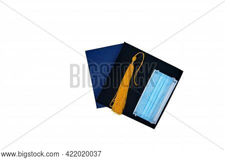 Graduation Cap And Diploma Isolated On White Background. Graduation Concept. Black Mortar Board Cap,