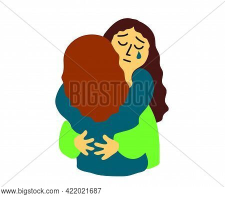 The Two Ladies Hug. Empathy. Supporting People. Cartoon. Vector Illustration.
