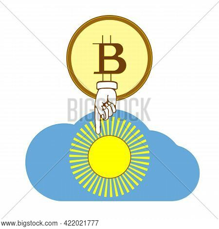 The Concept Of Using Solar Energy By Miners. Solar Power And Bitcoin Mining Systems Vector Flat Icon