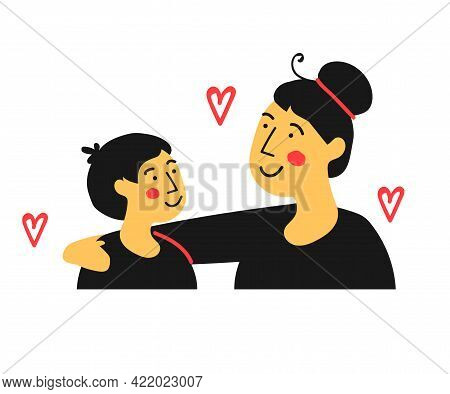 Parent And Child Together On A White Background. Cartoon. Vector Illustration.