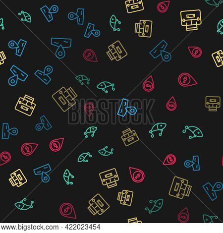 Set Line Location Fishing, Fishing Lure, Case Container For Wobbler And On Seamless Pattern. Vector