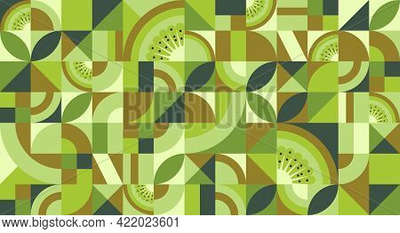Abstract Geometric Background With Kiwi Fruit In Bauhaus Style. Texture With Simple Repeating Shapes