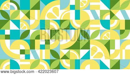 Geometric Abstract Texture In Bauhaus Style With Lemon. Seamless Repeating Pattern With Simple Shape