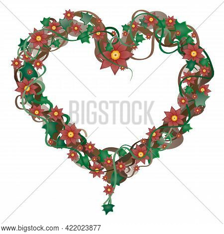 Garland With Red Flowers In The Shape Of A Heart