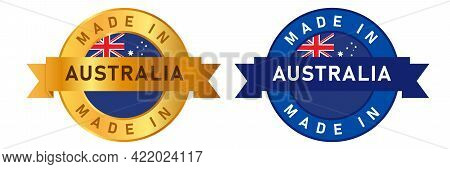 Made In Australia Label Stamp For Product Manufactured By Australian Company Seal Golden Ribbon And