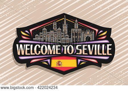 Vector Logo For Seville, Black Decorative Tag With Outline Illustration Of Seville City Scape On Dus