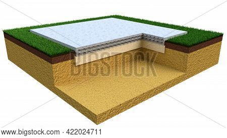 Poured Reinforced Cement Slab Foundation. Isolated Cg Industrial 3d Rendering