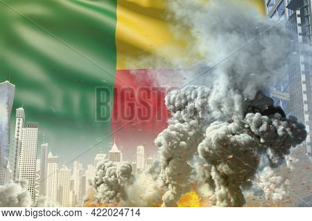Large Smoke Column With Fire In The Modern City - Concept Of Industrial Explosion Or Terroristic Act