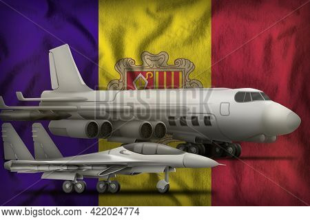 Air Forces On The Andorra Flag Background. Andorra Air Forces Concept. 3d Illustration