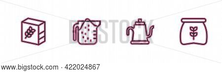 Set Line Flour Pack, Watering Can, Measuring Cup And Bag Of Flour Icon. Vector