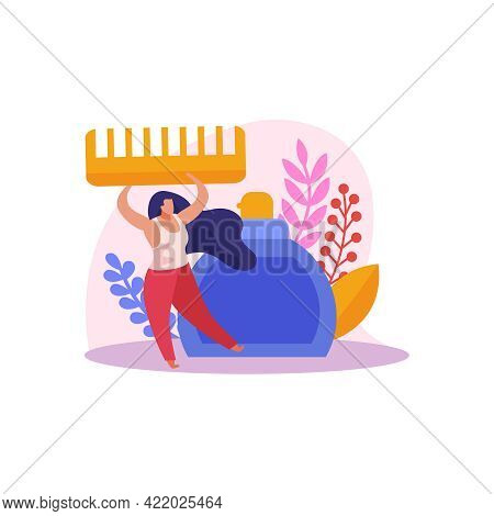 Flat Icon With Character Of Hair Stylist Holding Comb And Bottle Of Cosmetic Product Vector Illustra