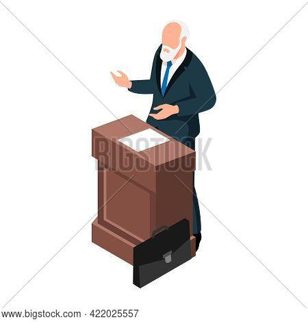 Isometric Elderly Lecturer At Wooden Stand 3d Vector Illustration