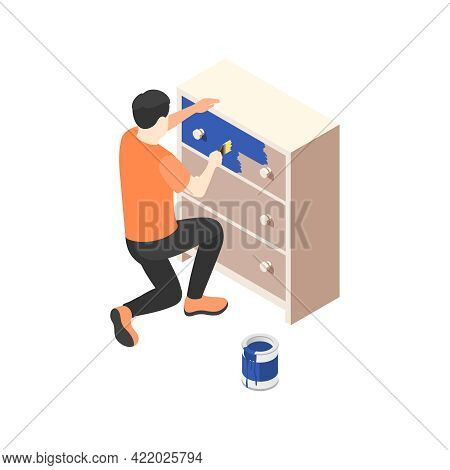 Renovation Isometric Icon With Man Painting Chest Of Drawers In Blue Color 3d Vector Illustration