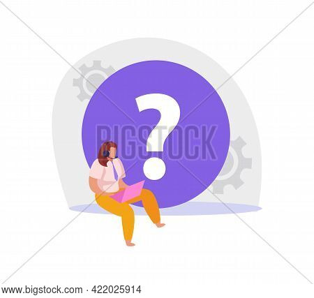 Flat Icon With Online Support Service Consultant Working On Laptop Vector Illustration