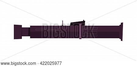 Man Portable Air Defense System On White Background Flat Vector Illustration