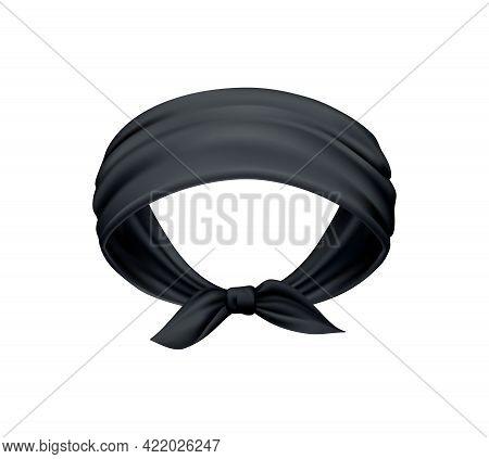 Realistic Black Head Bandana Scarf On White Background Vector Illustration