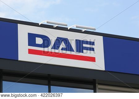 Limas, France - June 28, 2020: Daf Logo On A Building. Daf Trucks Is A Dutch Truck Manufacturing Com