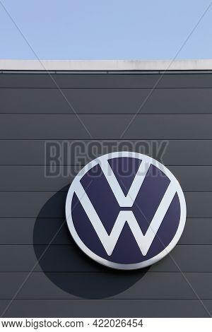 Belleville, France - September 13, 2020: New Volkswagen Logo On A Wall. Volkswagen Is A German Car M