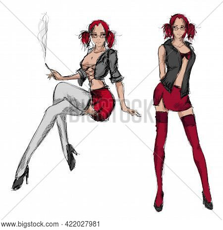 Young Beautiful Woman In Sexy Clothes. Sale Concept. Hand Drawn Fashion Illustration