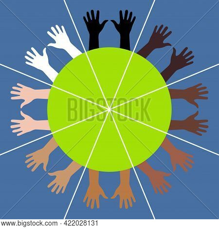 Different Colors Hands Diverge Radially From Circle Center. Sphere Divided Into 8 Sectors. 4 Human R