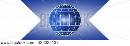 Horizontal Blue And White Banner. Globe Icon Isolated On Blue Background. White Meridians And Parall