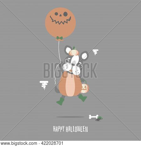 Happy Halloween Holiday Festival With Cute French Bulldog Pug And Pumpkin, Flat Vector Illustration