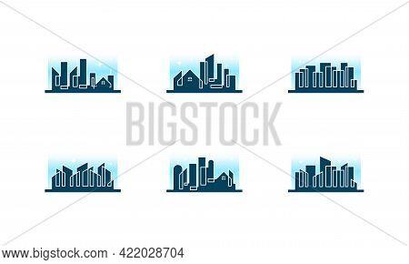 City Skyline Line Art Vector Illustration, City Building Construction Logo Designs, Real Estate Logo