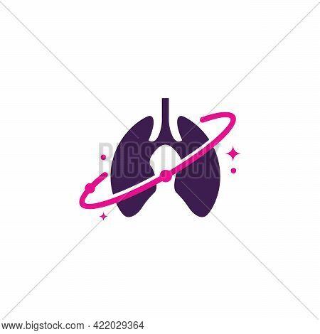 Lungs Planet Logo Designs Concept Vector, Lungs Shield Logo, Lungs Care Logo Template