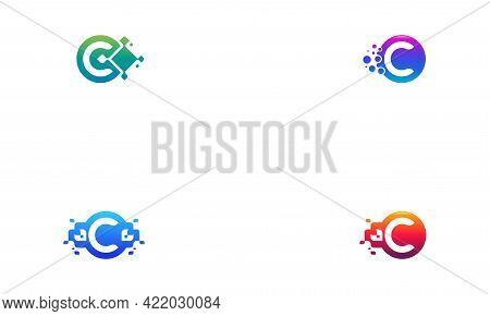 Set Of Pixel Letter C Logo Designs, Circle Pixel C Initial Logo