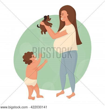 Happy Family Playing With A Little Puppy. Beautiful Young Pregnant White Woman Holding A Small Dog I