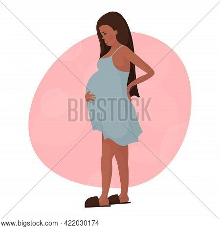 Beautiful Young Black Pregnant Woman Stands Sideways Holding Her Back And Big Belly. Happy Pregnancy