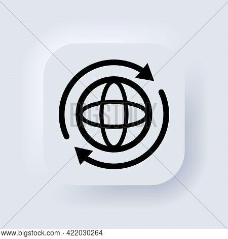 Internet Icon. World International Earth Globe Icon. Round Globe With Arrows Around Sign. Globe Symb