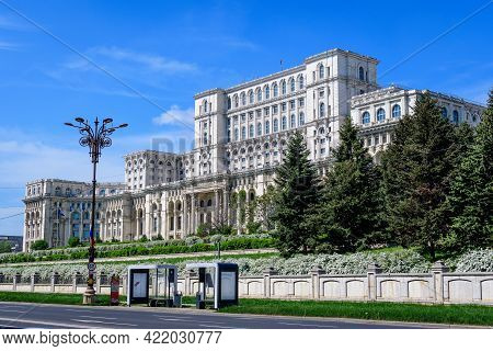 Bucharest, Romania, 6 May 2021: The Palace Of The Parliament Also Known As People's House (casa Popo