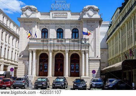 Bucharest, Romania - 6 May 2021: The Odeon Theatre (teatrul Odeon) On Victoriei Avenue (calea Victor