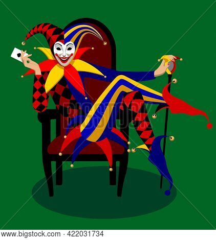 Joker seated in the red chair with stick and playing card in his hand on a green background. Colorful  illustration in flat style