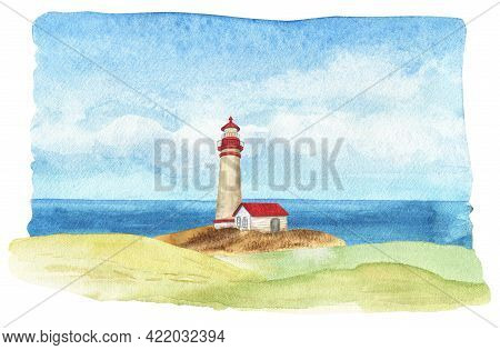 Watercolor Lighthouse Landscape. Red Roof Lighthouse. Seascape Sketch